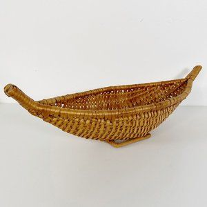 Vintage Boho Boat Shaped Woven Knitting Basket